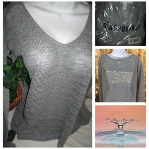 NEW Aeropostale gray SHIMMER SWEATER LARGE OR SM